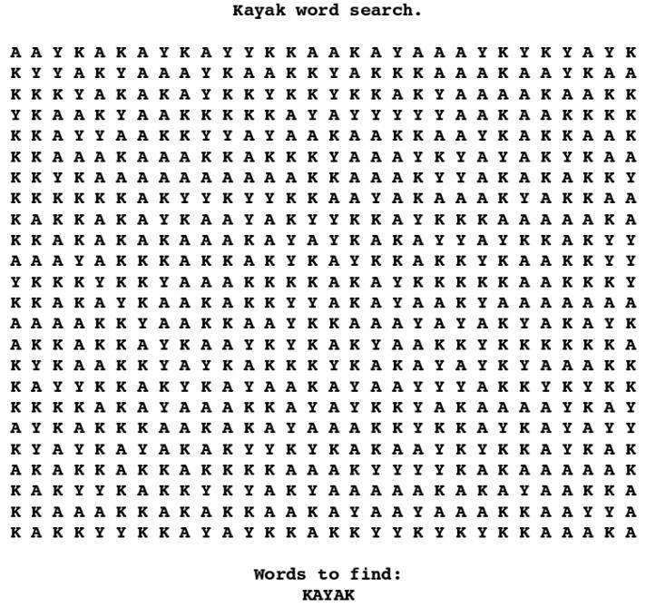 kayak word search